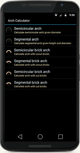 Brick Archway (Voussoirs) Calculator - mobile app