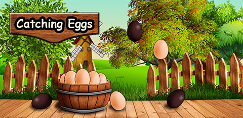 Catching magical eggs, android game