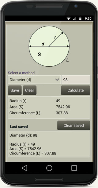 Fast Circle Calculator - mobile app